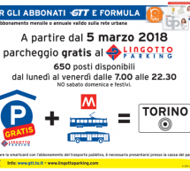 Parcheggio Lingotto: gratuito per gli abbonati Gtt e Formula